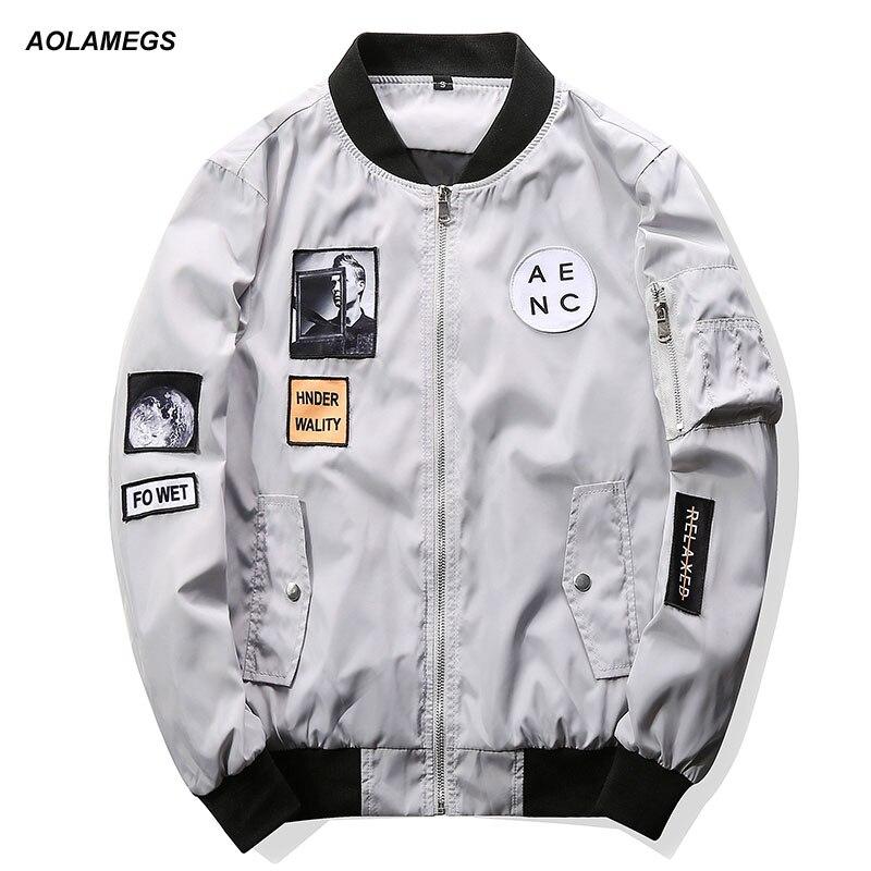 Aolamegs Men Bomber Jacket Hip Hop Patch Designs Slim Fit Pilot Jacket Coat Men Women Couples Baseball Uniform Outerwear M-4XL