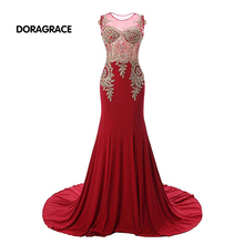 Glamorous Applique Beaded Floor-Length Red Chiffon Mermaid Prom Gowns Designer Evening Dresses DGE051