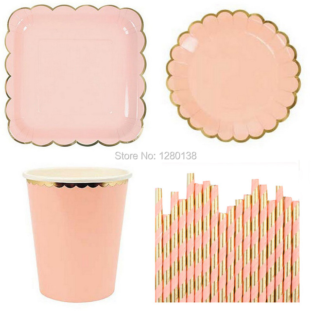 Gold Party Paper Plates Coffee Cups Cocktail Straws Pink Blue Yellow Mint Birthday Decor Tableware Baby  sc 1 st  AliExpress.com : pink and blue paper plates - pezcame.com
