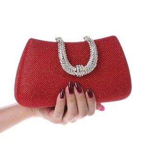 Image 5 - Lüks ay kadınlar kristal U elmas toka el çantası glitter gümüş akşam çantalar altın debriyaj parti çanta kadın çanta