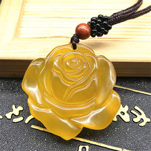 Natural Chalcedony Rose Pendant Necklace Drop Shipping Hand-carved lucky Amulet Lovers Necklace For Men And Women natural chalcedony spider a foot pendant necklace drop shipping hand carved lucky amulet lovers necklace for men and women