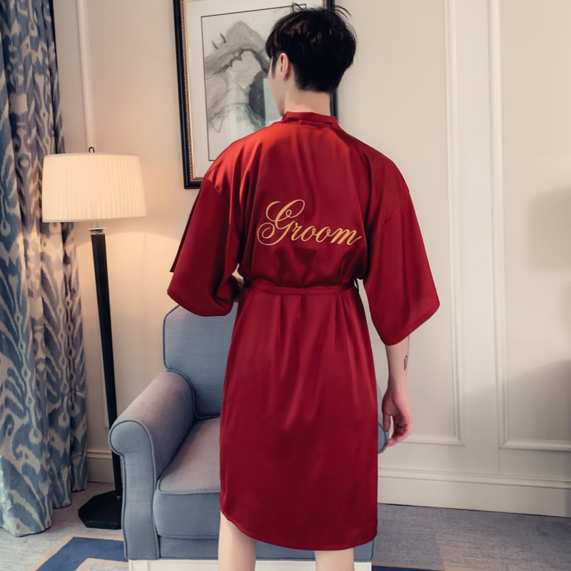 2019 Spring New Women Men Wedding Robe Embroidery Bride Bridesmaid Groom Groomsman Kimono Bathrobe Gown Sleepwear Nightgown