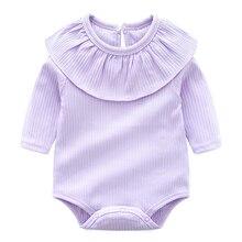 Macacão de Bebê de algodão Infantil Criança Macacão de Manga Longa Gola de Renda Roupas de Menina Recém-nascidos Do Bebê Roupas de Bebe Geral 0-24 M