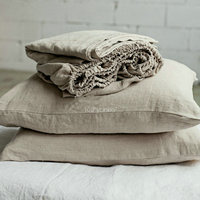 100% Pure Linen Fitted Sheet stes Waterwash Linen bedding 3 psc /set Free Shipping