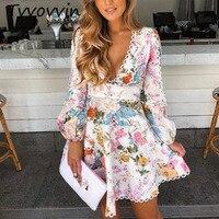 Runway Zim Designer Dress Women High Quality Elegant V neck Lantern Sleeve Floral Printed Lace Patchwork A line Mini Dress V755