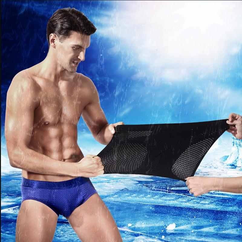 Mens Mesh Briefs Underwear Men Bamboo Fiber Transparent Sexy Panties Penis Pouch Breathable Ice Silk Underpants Crotch Cotton