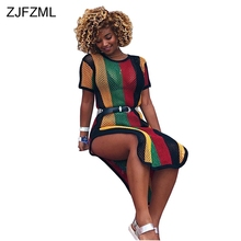 ZJFZML Colorful Vertical Striped Sexy Shirt Dress Women O Neck Short Sleeve Loose Robe Summer Double Side Split Hollow Out Dress