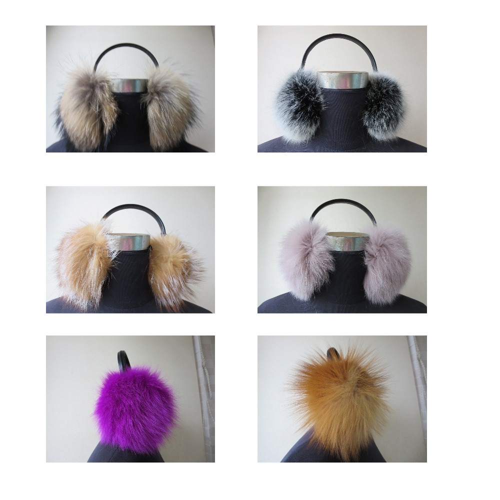 Women's Whole Real Fox Fur With  Velvet  Ear Ring Earmuffs Multicolored