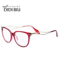 DIDI Korean Vintage Red Clear Sunglasses Women Men Gold Hollow Eyeglasses Prescription Optical Frames Cat Eye