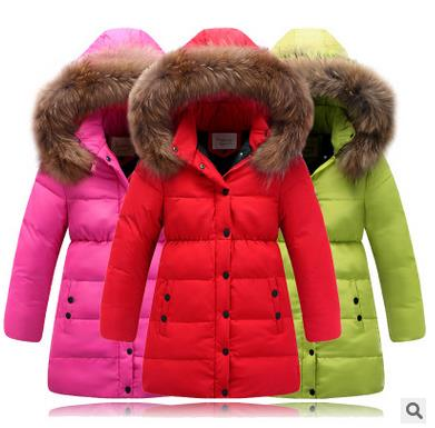 (XYF) 2016 Fashion Brand Children Clothing Winter Girls Fur Down Jacket With Hood Long Slim Style Outwear Free Shipping