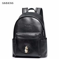 SAMMONS Brand New Design Fashion Casual Chess Horse Head Genuine Cow Leather Men Backpacks School Travel