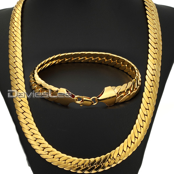 Davieslee 11mm Gold Filled Necklace Chain Close Curb Link Party Daily Wear Fashion Gift Mens Chain Boys Jewelry Set DLGS74 25mm mens boys gold