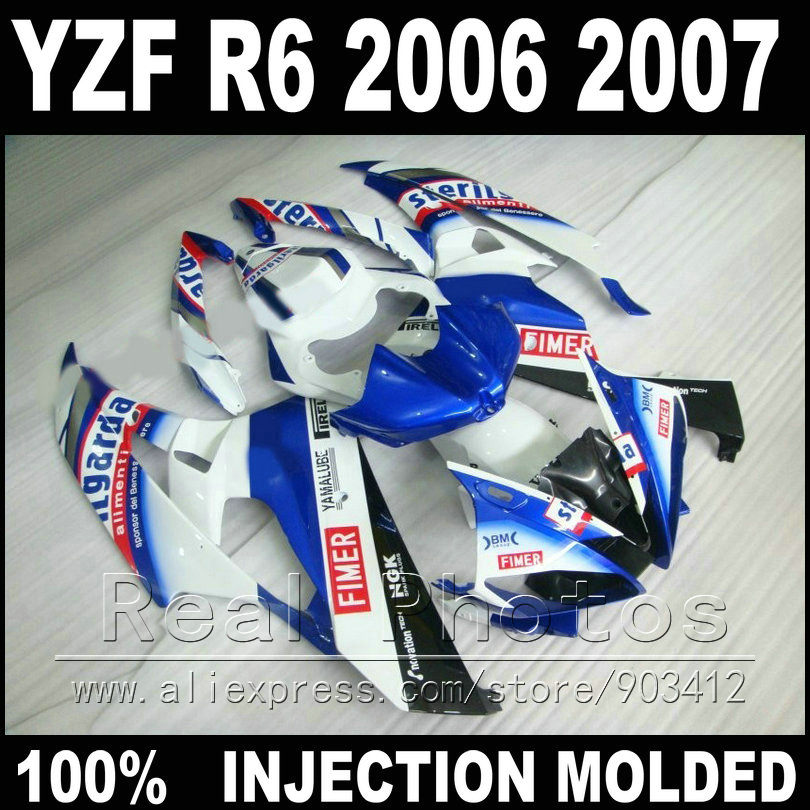 7 gifts motorcycle parts for YAMAHA R6 fairing kit 06 07 Injection molding FIMER blue white