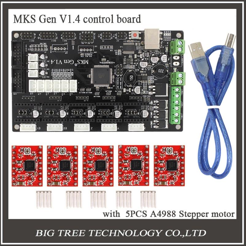 ФОТО Latest MKS Gen V1.4 control board Mega 2560 R3 motherboard RepRap Ramps1.4 compatible with USB and 5PCS A4988