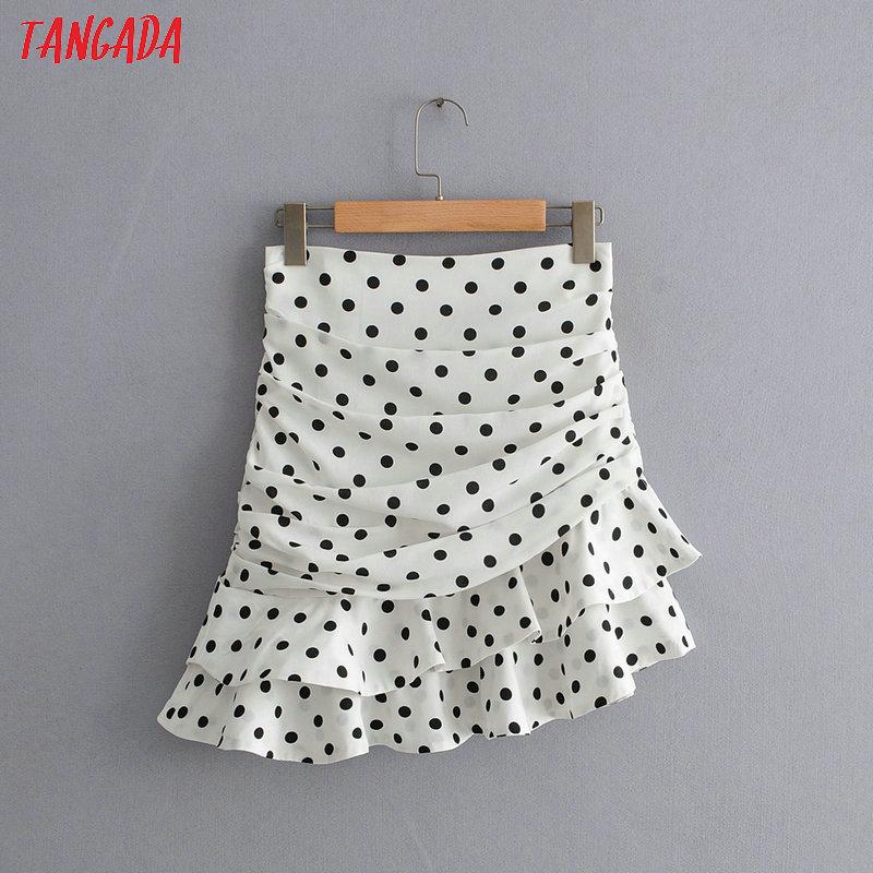 Tangada Women Polka Dot Asymmetric Skirt Side Zipper High Waist Ladies Fashion Sweet Pleated Skirts Faldas Mujer QJ01
