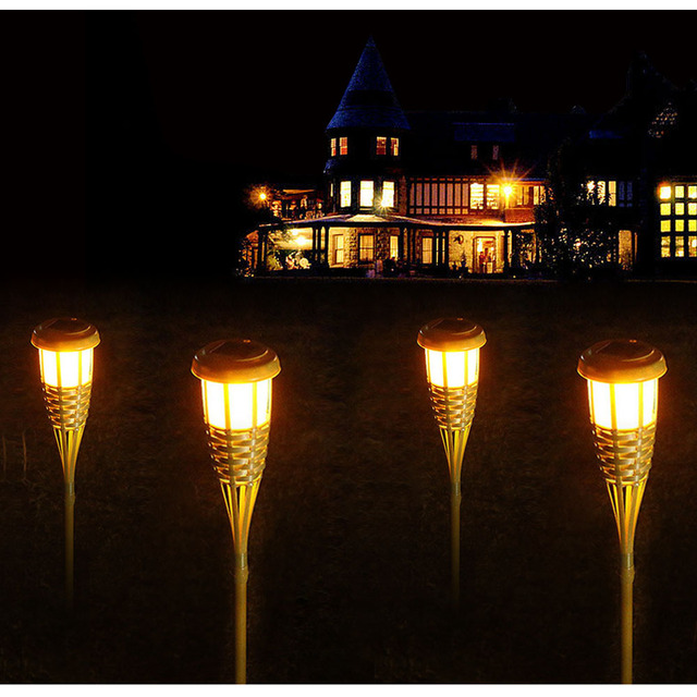 Tanbaby Outdoor Lighting Ip65 Solar Light 2pcs Lot Handmade Bamboo Tiki Torches 6v