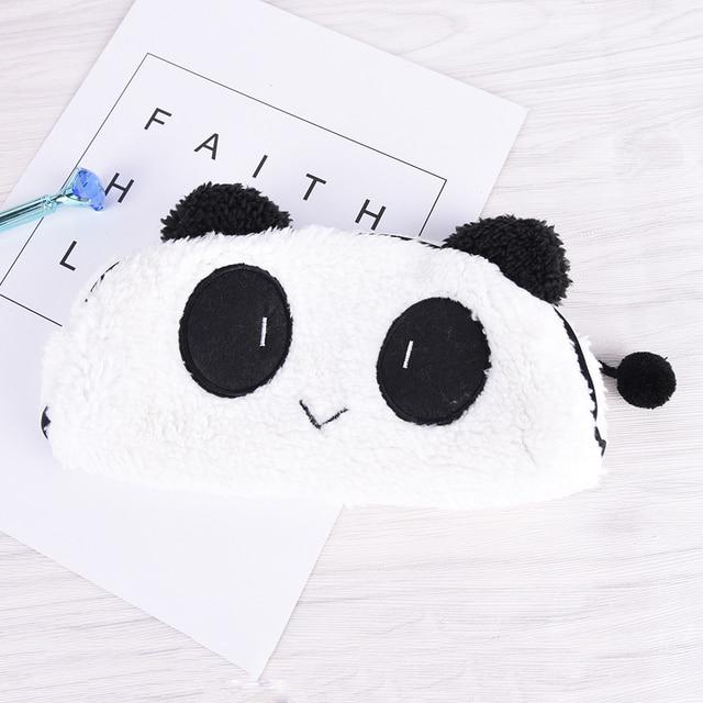 1 Unids Pzas Nueva Caja De Lápiz De Felpa De Panda Kawaii De Dibujos