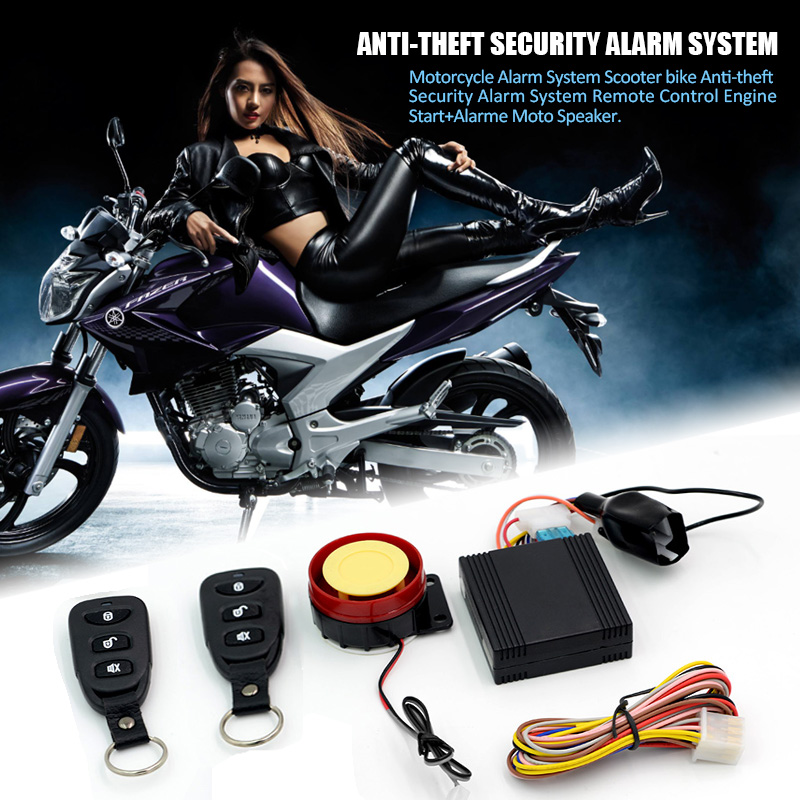 motorcycle alarm system scooter anti theft security alarm system remote control engine start. Black Bedroom Furniture Sets. Home Design Ideas