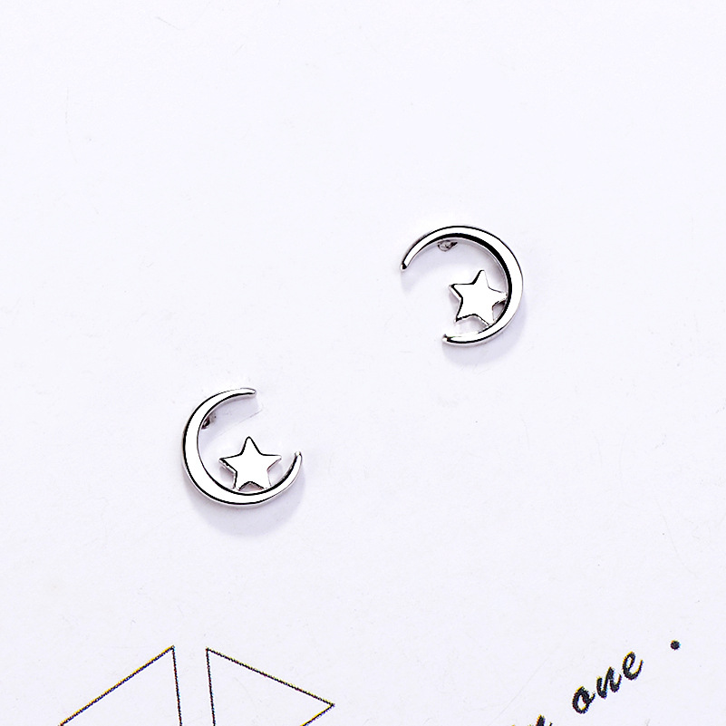FENGLI New Arrival Minimalist Silver Star Stud Earrings for Women Tiny Matte Star Earring Pendients Party Gifts Jewelry in Stud Earrings from Jewelry Accessories