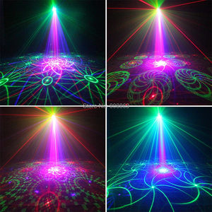 Image 4 - ESHINY מיני RGB 5 עדשת לייזר 128 דפוסים מקרן כחול Led מועדון בית המפלגה בר DJ דיסקו חג המולד ריקוד שלב אפקט אור N60T155