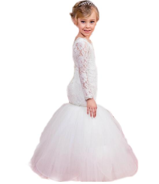 Girls Wedding Formal Dresses 2018 Longsleeve Lace Gauze Catwalk Fishtail Flowers Girls Princess Dress Kids Long Party Prom Dress girls wedding formal dresses 2018 lace tailing catwalk gauze prom ball gown flowers girls princess dress kids long party dress
