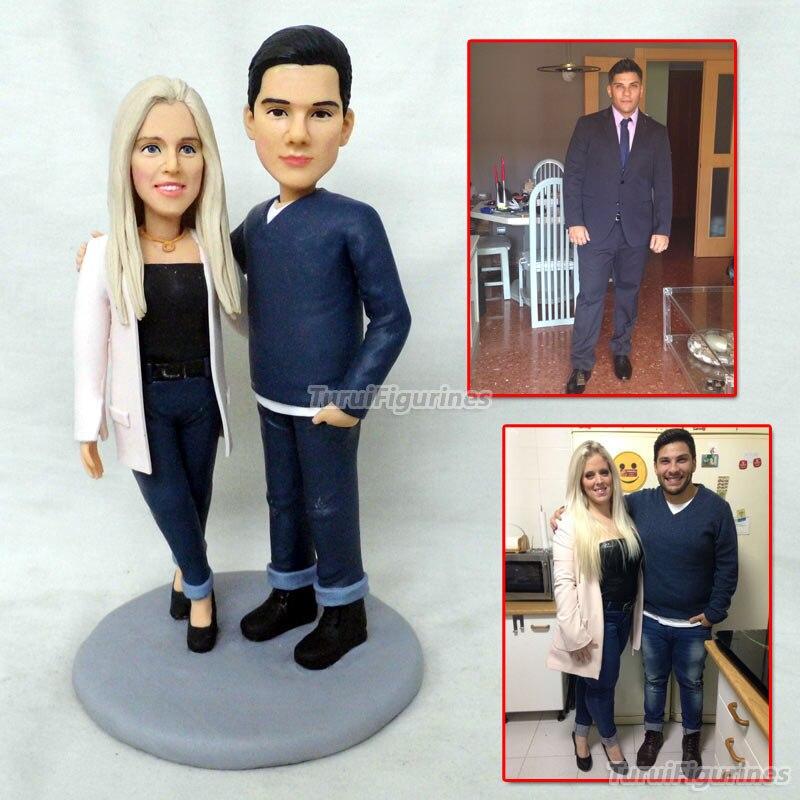 Figurine d'amant couple visage sculpture poupée sculptée cadeau personnalisé anniversaire cadeaux spéciaux poupée en argile polymère Figurine mini statue