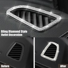 Bling Style Rhinestone Crystal Car Air Outlet Cover Sticker Trim For  Mercedes Benz E ee56d30d604e