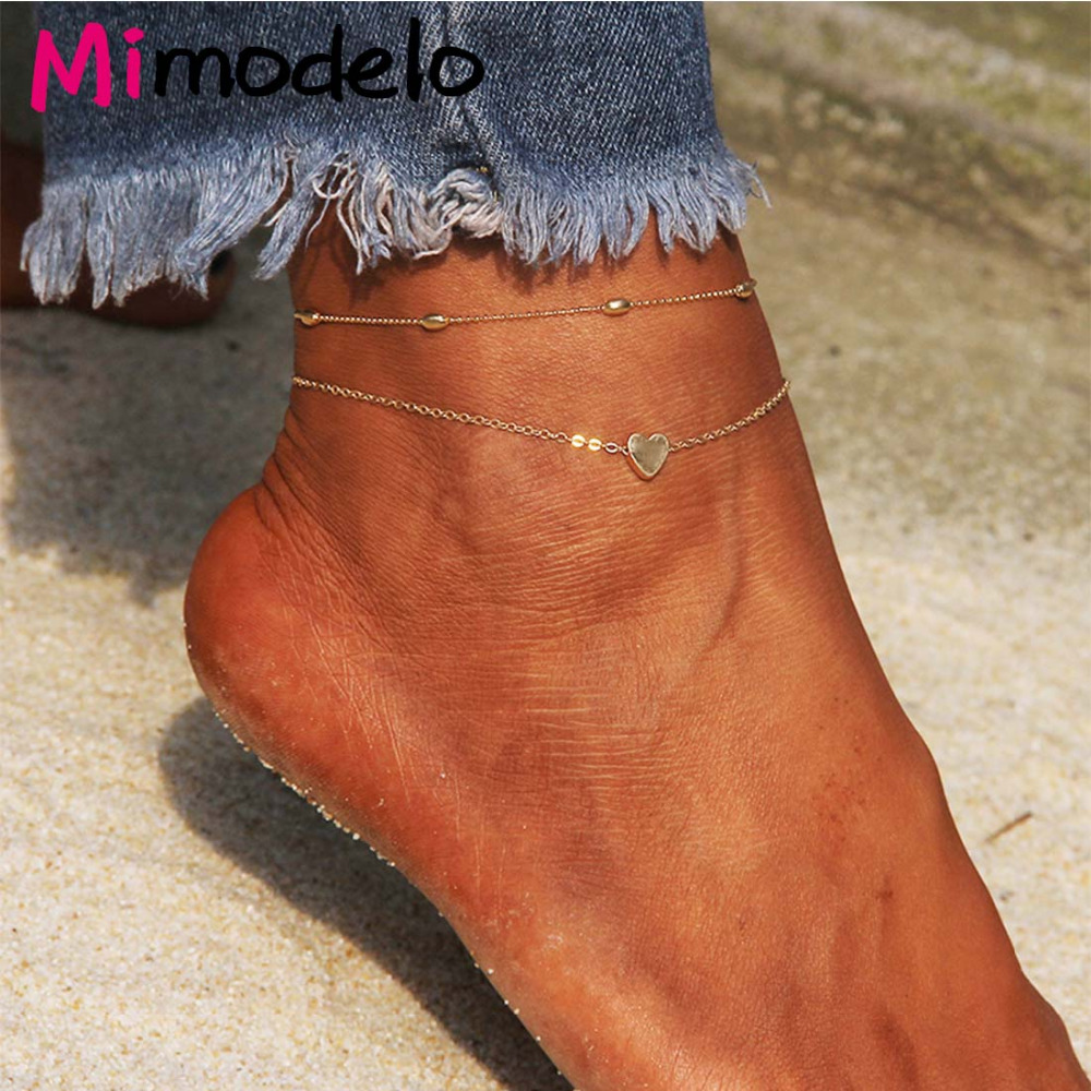 2018 Summer Style Women Anklets Simple Heart Barefoot Crochet Sandals Foot Jewelry Two Layer Foot Legs Bracelet Anklets-in Anklets from Jewelry & Accessories on Aliexpress.com | Alibaba Group