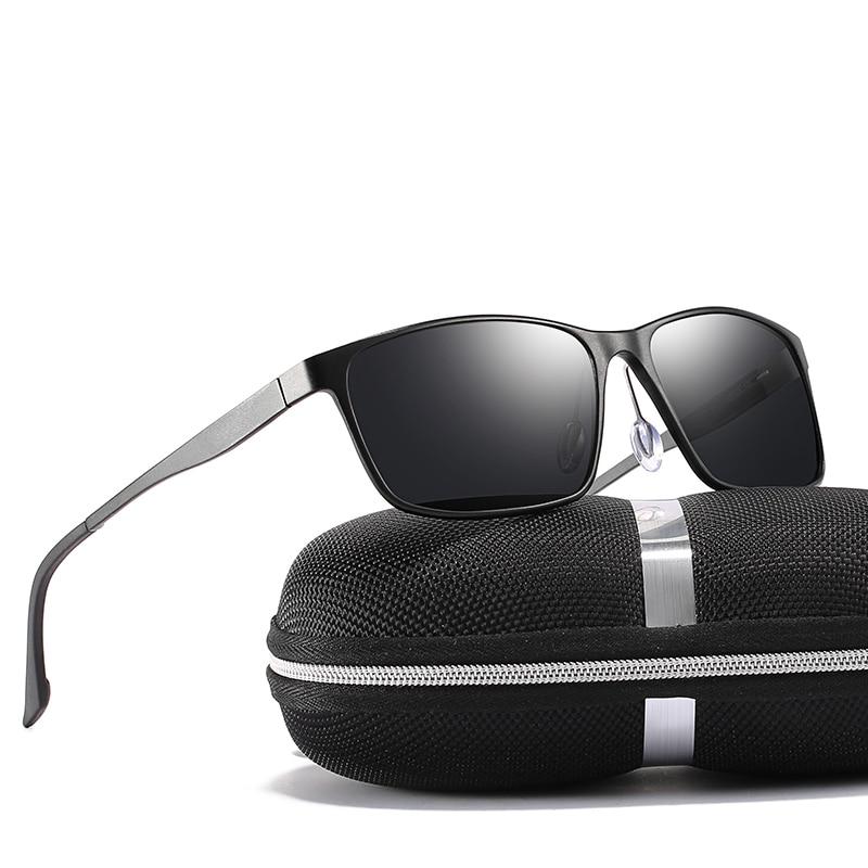 2018 Man Black Green Tea Colors Rectangle Polarized Mental Frame Sunglasses With Box Free Shipping