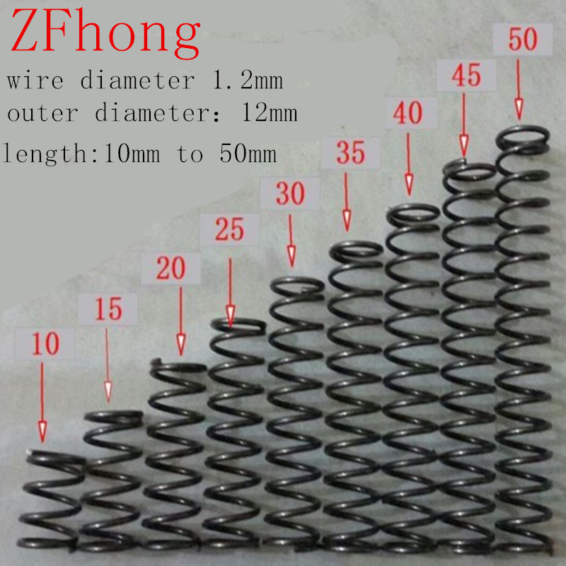 20pcs outer diameter 12mm wire 1.2*12mm Small spot spring wire spring compression spring pressure spring length 10mm to 50mm spring
