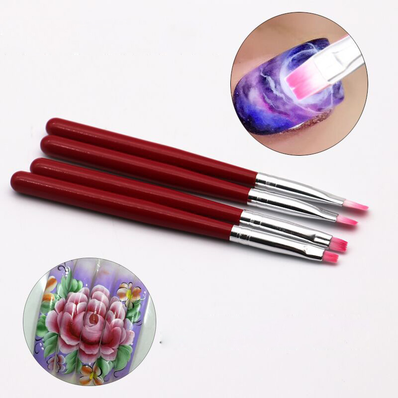 New Nail Art Brushes Uv Gel Polish Painting Brush Drawing Flowers Set Flat Tip Manicure Tool Professional Nails Beauty Gift Gift