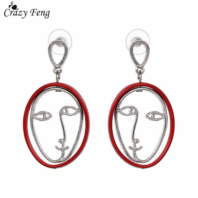 Crazy Feng 2018 Vintage Abstract Figure Face Dangle Drop Earrings For Women Girls Bridal Wedding Jewelry Hollow Out Pendientes