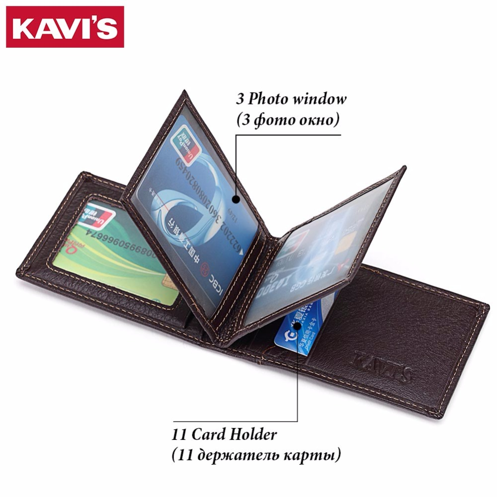 KAVIS Brand Cow Genuine Leather Credit Card Holder 14 Card Slots Men Women Business Card Purse ID Wallet Travel for Credit Cards men plaid pu leather wallet light bifold fashion designer credit cards holder clutch id card organizer brand purse for men phd08