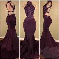 2018 High Neck Beaded Lace Applique Mermaid Prom Dresses Draped Backless Celebrity Party Dresses Long Party Evening Gowns Custom