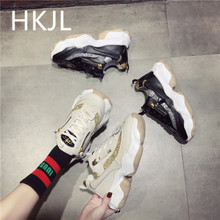 HKJL women shoes 2019 new Korean edition go all out color goes with thick bottom heighten learn sneaker running shoe A589
