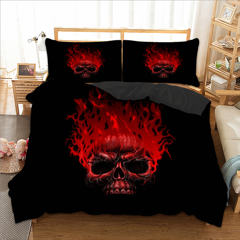Red Fire Gothic Skull Pattern Print Duvet Cover Set With Pillow Case Bed Linen Set Bedding Set For Comforter New 3pcs Bed Set