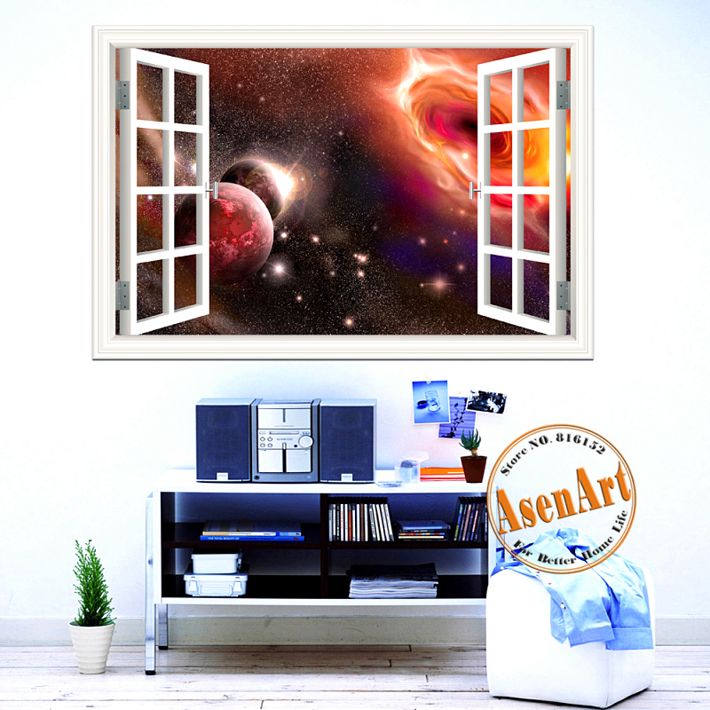 3d window scenery wall sticker home decor decals outer for Home outer wall design