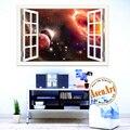 Ventana 3D Paisaje Etiqueta de La Pared Decoración Tatuajes del Espacio Ultraterrestre pegatinas planeta galaxy papeles de la pared decoración para el hogar pared de la sala arte