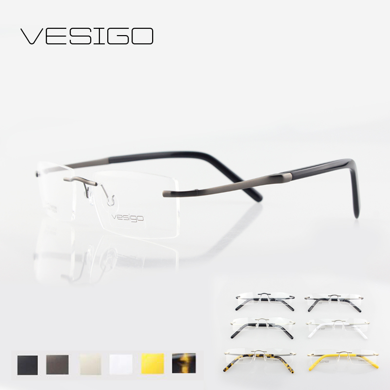 Rimless Glasses With High Prescription : Aliexpress.com : Buy Titanium Glasses Frame Men Rimless ...
