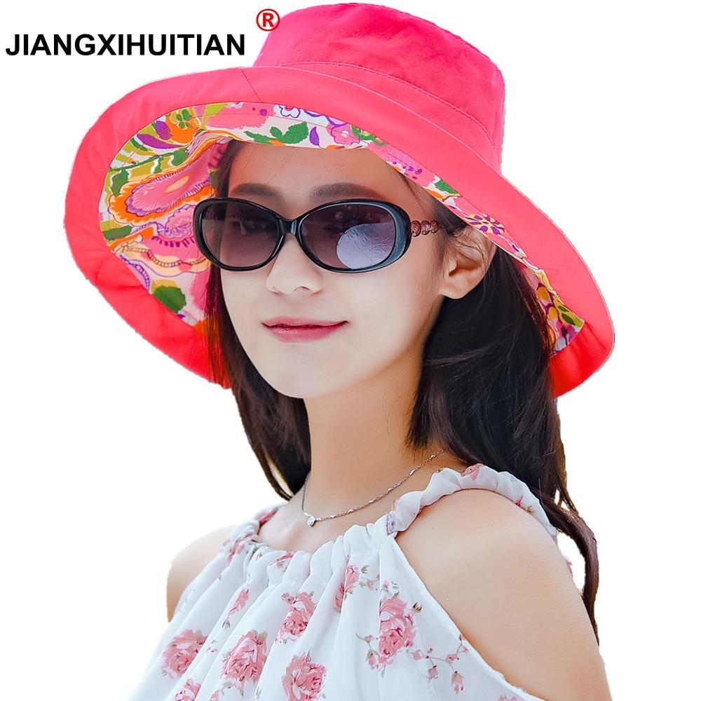 2018 Moda moda dobrável grande aba do chapéu de Verão Praia chapéus de Sol  UV das Mulheres destacável fêmea fedoras sunbonnet chapéu de sol das  senhoras 0e7027fa3f4