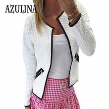 AZULINA Women Cardigan Simple Round Neck Long Sleeve Zipper Decoration Sheath Cardigan Elegant Jacket Ladies Cotton Short Coat