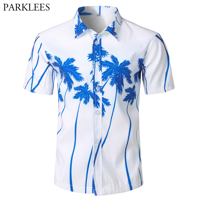 Palm Tree Print Hawaiian Shirt Men 2018 Fashion Summer Short Sleeve Shirt Men Casual Vacation Tops Shirts For Men Chemise Homme