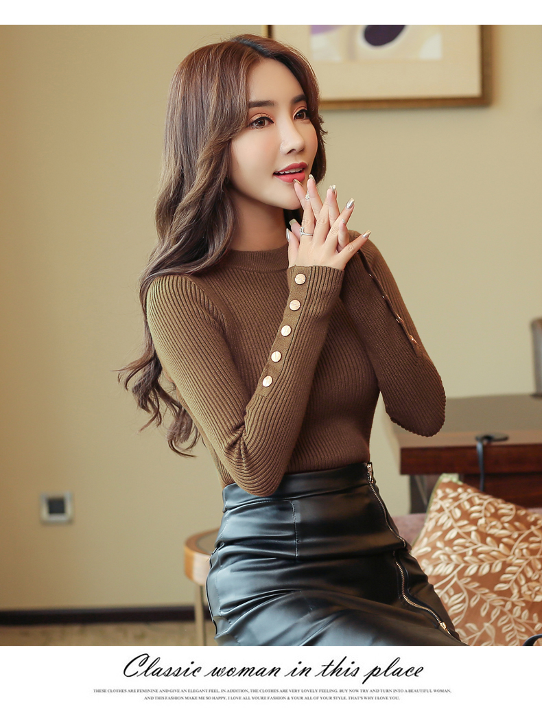 Fashion 19 New Spring Autumn Women Sweater Knitted Long Sleeve O-Neck Sexy Slim Office Lady Button Casual Sweaters Tops 27