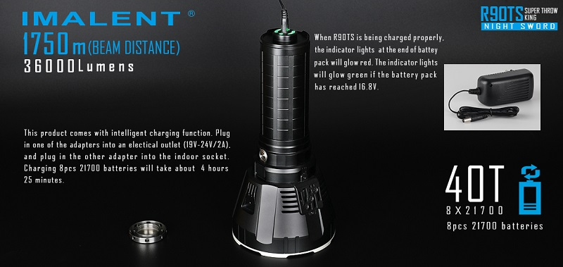 IMALENT R90TS Big Flashlight High Power LED CREE XHP70 36000 Lumens Long Throw Flash light 21700 Battery Intelligent Charging - 3