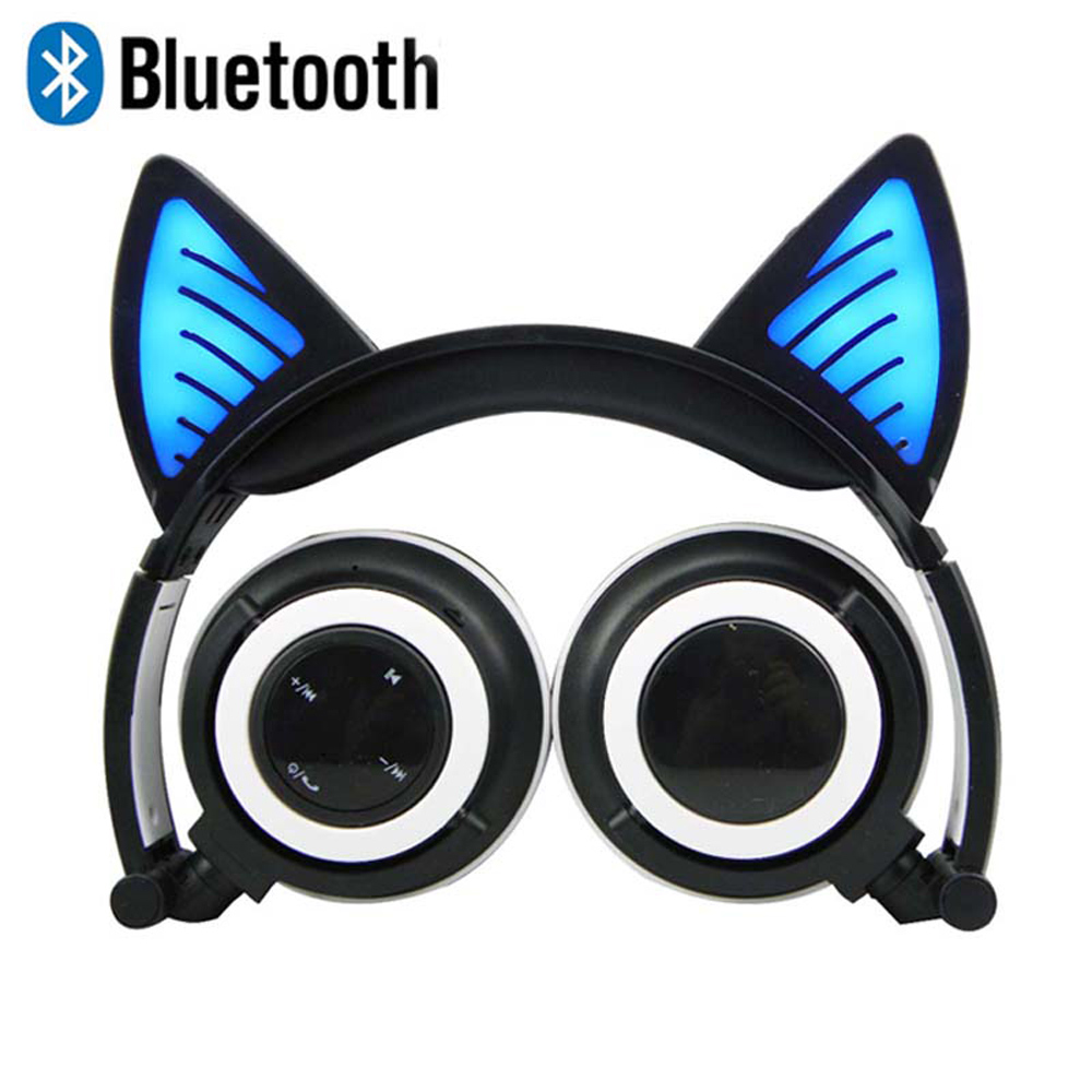 Wireless Bluetooth Cat Ear Headphones with retail box Foldable LED light Flashing Glowing Cat Earphone gift for kids foldable cat ear headphones gaming headset earphone with glowing led light for phone computer best halloween gift for girls kids