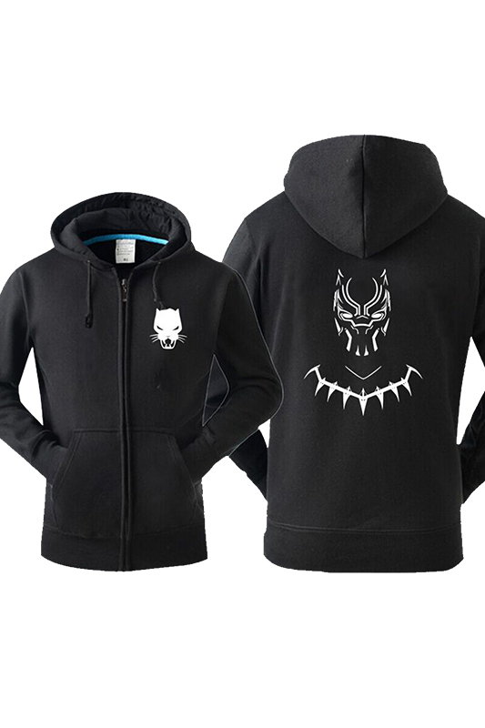 Hot Black Panther Print Black zipper sweater For Adult High Quality Black Hoodies