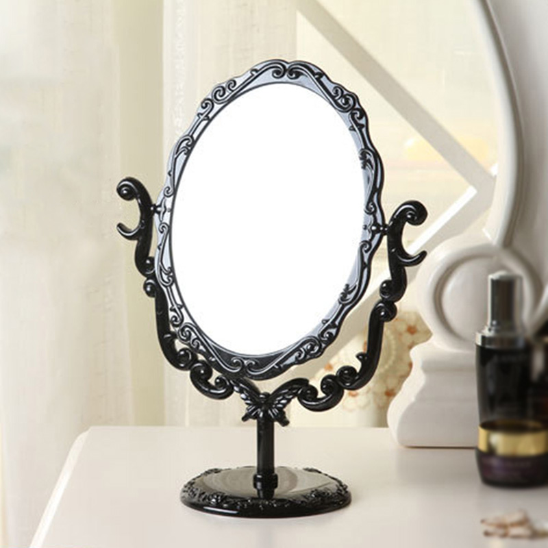 High quality Plastic Makeup Mirror Desktop Rotatable Small Size Rose Stand Mirror Beauty Tool Promotion