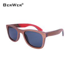 BerWer Skateboard Wooden Sunglass Brown Frame With Coating Mirror Bamboo Sunglasses UV 400 Protection Lenses