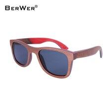 Деревянные солнцезащитные очки BerWer для скейтборда, коричневая оправа с покрытием, зеркальные бамбуковые солнцезащитные очки, линзы с защитой от УФ лучей 400