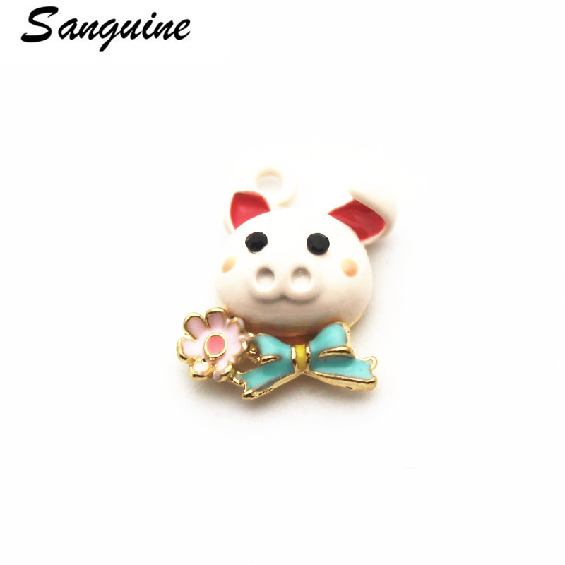 Newest 20pcs lot pig golden Pendant Dangle Charms Lobster Clasp Hanging Charm For Bracelet Floating Charms Jewelry in Charms from Jewelry Accessories